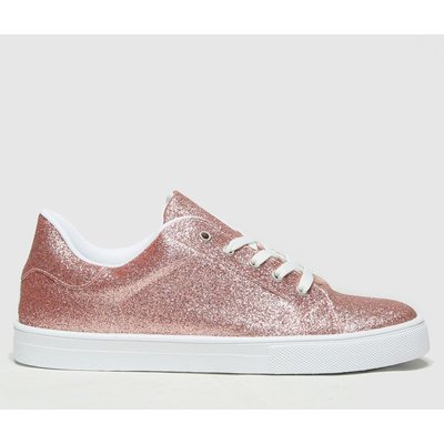 Schuh Pink Martha Glitter Lace Up Trainers