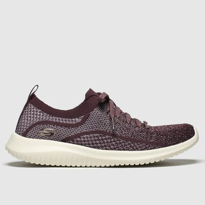 Skechers Burgundy Ultra Flex Silver Surfing Trainers