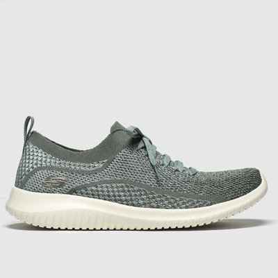 Skechers Green Ultra Flex Silver Surfing Trainers