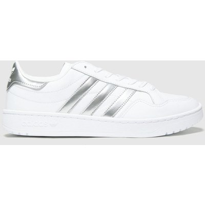 Adidas White & Silver Team Court Trainers