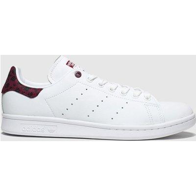 Adidas White & Burgundy Stan Smith Trainers