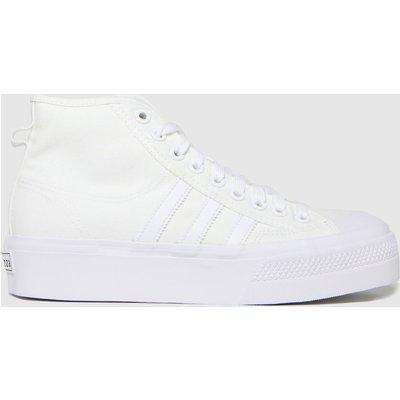 Adidas White Nizza Platform Mid Trainers