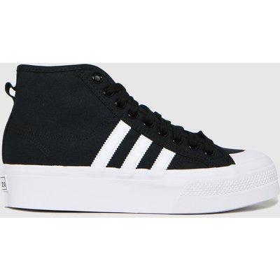 Adidas Black & White Nizza Platform Mid Trainers