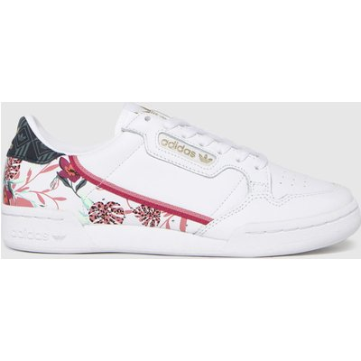 Adidas White & Pink Continental 80 Trainers
