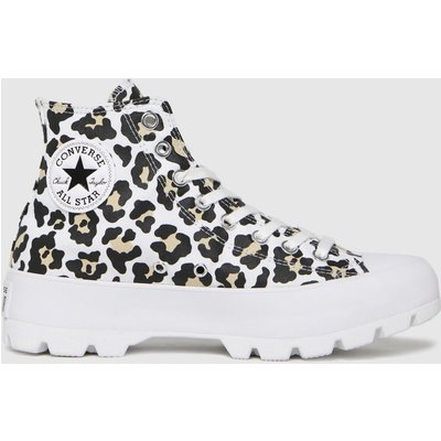 Converse Black & Brown Lugged Hi Leopard Trainers
