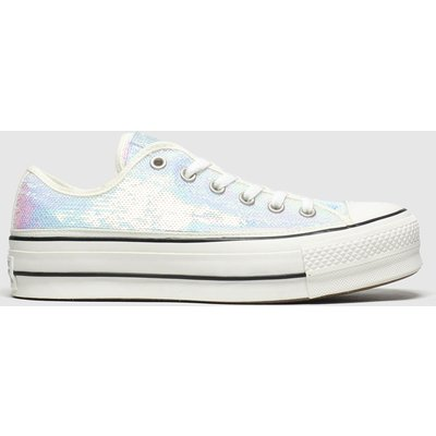 Converse Iridescent White All Star Lift Mini Sequins Trainers