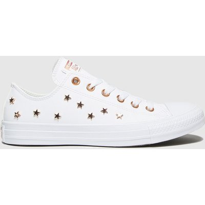 Converse White & Gold Star Stud Ox Trainers