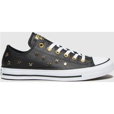 Converse Black & Gold Star Stud Ox Trainers
