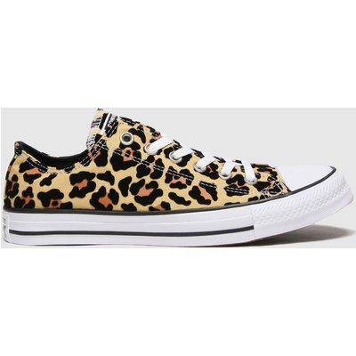 Converse Brown & Black Flocked Leopard Ox Trainers