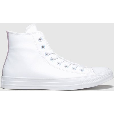 Converse White & Pink All Star Hi Summer Iridescent Trainers