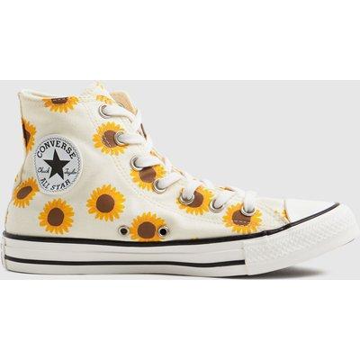 Converse White & Orange Sunflower Hi Trainers