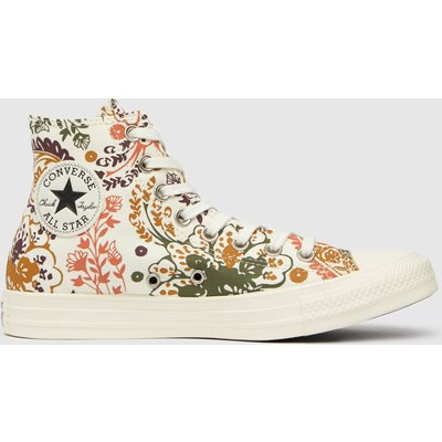 Converse Brown & White Floral Hi Trainers
