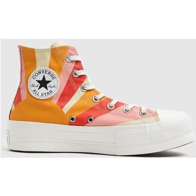 Converse Orange All Star Lift Hi Trainers