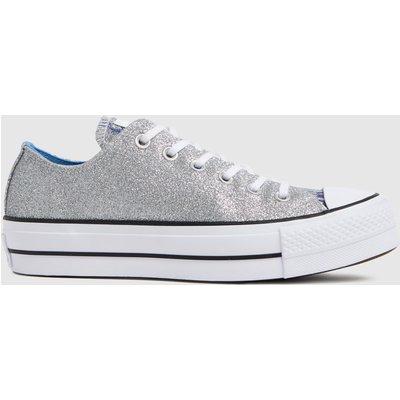 Converse Silver Glitter Lift Ox Trainers