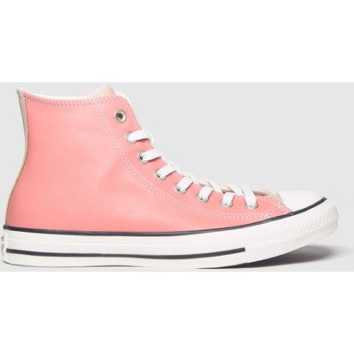 Converse White & Pink Chuck Taylor All Star Hi Trainers