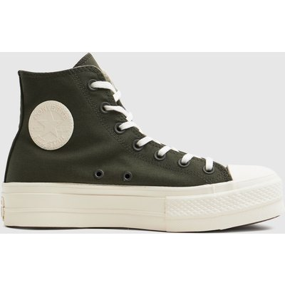 Converse Dark Green Mix Recycled Lift Hi Trainers