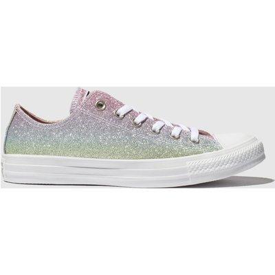 Converse Pink & Blue All Star Rainbow Glitter Ox Trainers