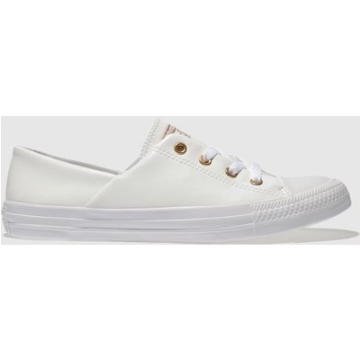 Converse White & Gold All Star Coral Craft Pu Ox Trainers