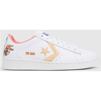 Converse White & Beige Pro Leather Ox Space Jam Trainers