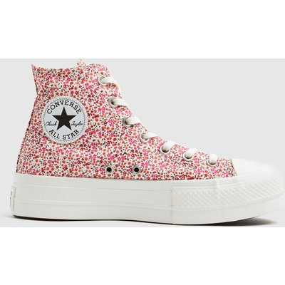 Converse Red Lift Floral Hi Trainers