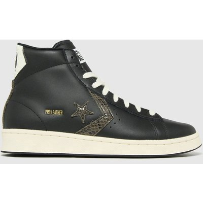 Converse Black Pro Leather Snake Hi Trainers