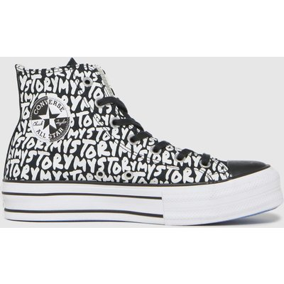 Converse White & Black My Story Double Stack Hi Trainers
