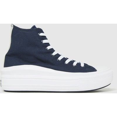 Converse Navy Anodized Metals Move Hi Trainers