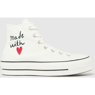 Converse White & Black Lift Hi Love Thread Trainers