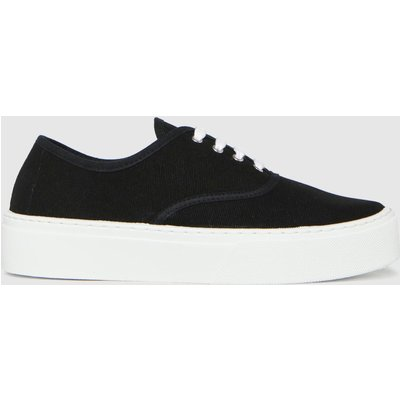Schuh Black Miracle Canvas Flatform Lace Trainers