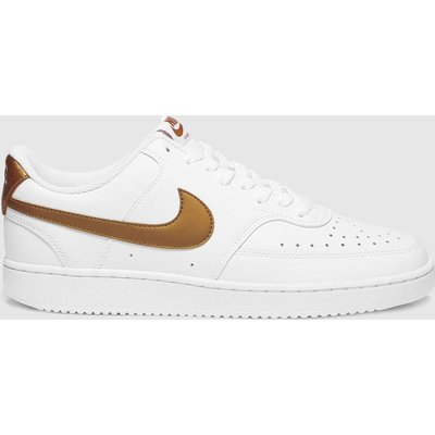 Nike White & Brown Court Vision Trainers