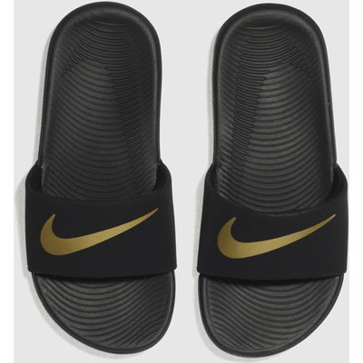 Nike Black & Gold Kawa Slide Sandals Junior