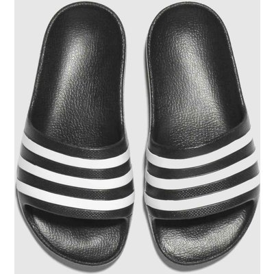 Adidas Black & White Adilette Aqua SLIDERS Junior
