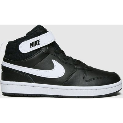 Nike Black & White Court Borough Mid 2 Trainers Junior