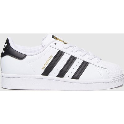 Adidas White & Black Superstar Trainers Youth