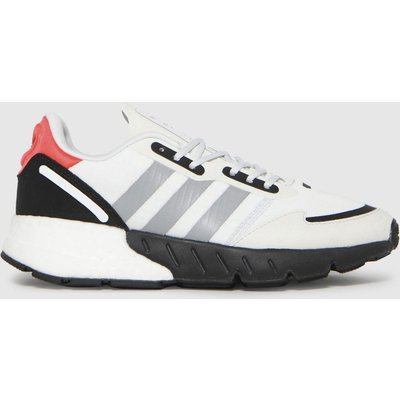 Adidas White & Black Zx 1k Boost Trainers Youth