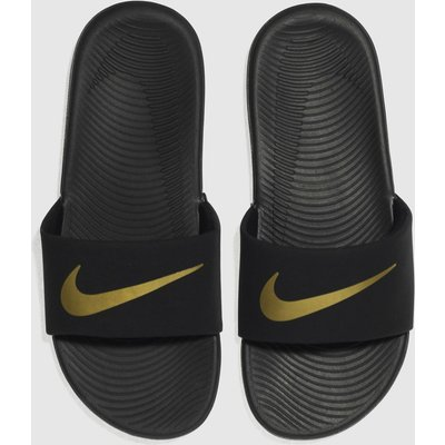 Nike Black & Gold Kawa Slide Sandals Youth