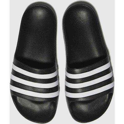 Adidas Black & White Adilette Aqua SLIDERS Youth