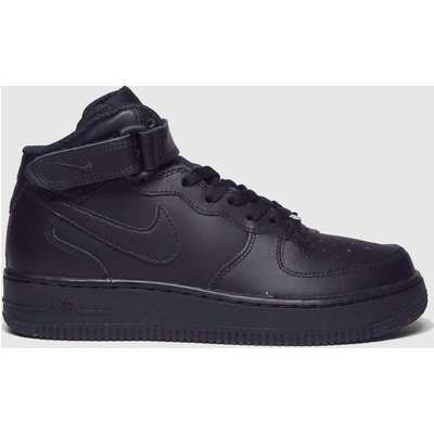 Nike Black Air Force 1 Mid Trainers Youth