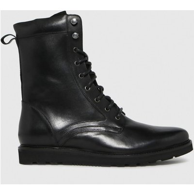 Schuh Black Daley Leather Chunky Lace Up Boots