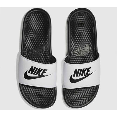 Nike White & Black Benassi Slide Sandals