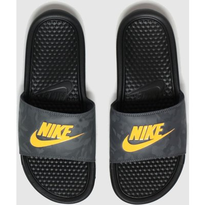 Nike Black & Orange Benassi Sandals