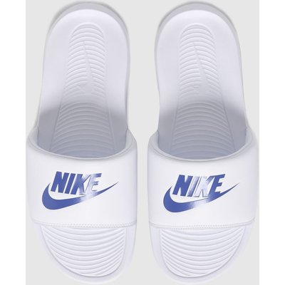 Nike White & Blue Victori One Sandals