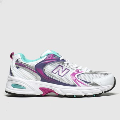 New Balance White & Pink 530 Trainers