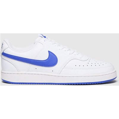 Nike White & Blue Court Vision Low Trainers