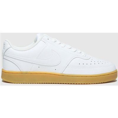 Nike White & Brown Court Vision Low Trainers