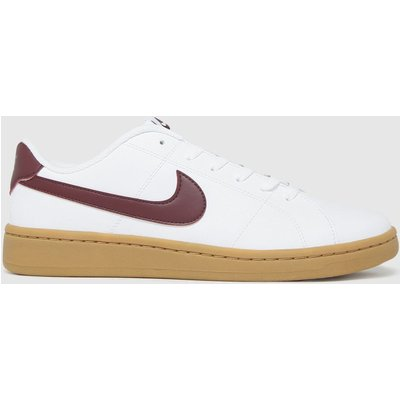 Nike White & Burgundy Court Royale 2 Low Trainers