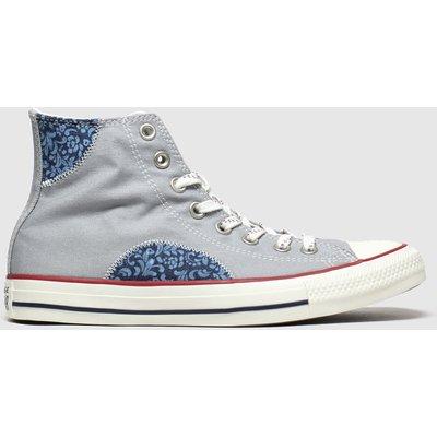 Converse Grey & Navy Hi Floral Trainers