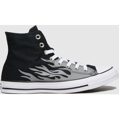 Converse Black & Grey Reflective Flame Hi Trainers