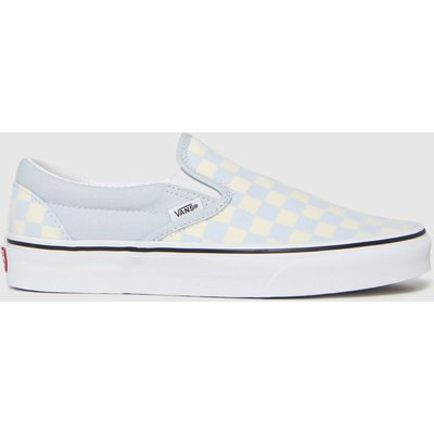 Vans White & Pl Blue Classic Slip-on Checkerboard Trainers