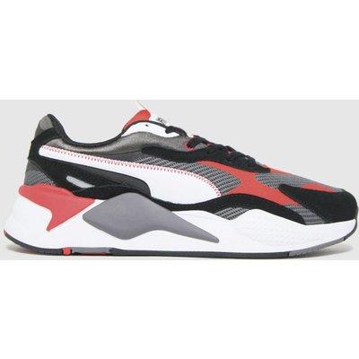 PUMA White & Black Rs-x3 Twill Airmesh Trainers